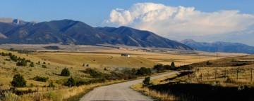 Bozeman, MT road near Bridger Mountains