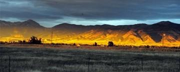 Montana mountains lit up at sunset