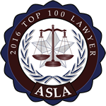 2016 Top 100 Lawyer award seal for the ASLA